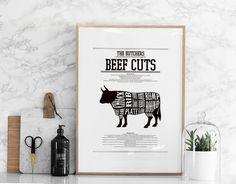 Splendide affiche noir et blanc pour la cuisine avec les différents morceaux du