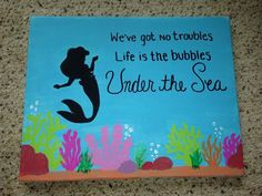 The Little Mermaid canvas craft. Ariel silhouette | It's All About ...