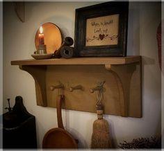 Items similar to Primitive Shaker Peg Shelf Farmhouse Tan / Color Choice on Etsy Primitive Homes, Primitive Shelves, Primitive Kitchen, Primitive Furniture, Primitive Crafts, Country Primitive, Rustic Furniture, Prim Decor, Country Decor