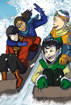 Lol Zuko's face <-- except Katara and Aang should be on one sled and Toph should be the one holding Zuko in a headlock <-- because that's how she shows affection XD