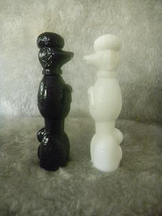 Vintage Collectible-Avon Set of Black & White Poodle Perfume Bottles by AlienDragon on Etsy