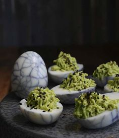 Maggot Green eggs, 50 Halloween Recipes Guaranteed to Freak Out Your Guests via Brit + Co.