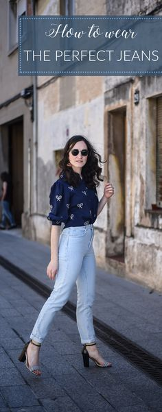 How to wear perfect jeans with a preppy blouse and high heels for a flawless every day street style look.