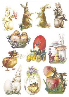 Free printable vintage Easter clipart - cute bunnies and chicks!
