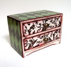Harlequin and Vines Two Drawer Treasure Chest   sisterbutterfly - Housewares on ArtFire