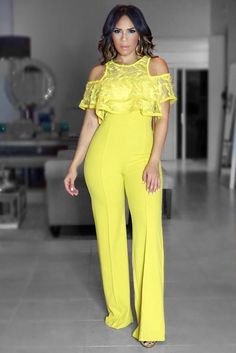 This chic, sophisticated Anna Mustard Lace Cold Shoulder Detail Jumpsuit is perfect for your next occasion to slay. This pull-on jumpsuit features lace col Lace Jumpsuit, Romper Dress, Sexy Dresses, Dress Outfits, Fashion Outfits, Classy Dress, Classy Outfits, Outfit Elegantes, African Lace Dresses