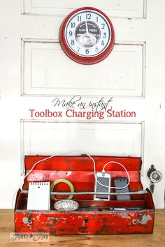 Make an instant toolbox charging station for your iPhone! Also info on how to degrease and protect old, chippy metal.  via http://www.funkyjunkinteriors.net/