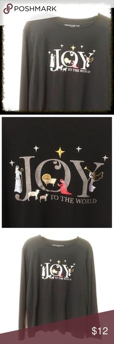 Joy to the World Christmas Tee Longsleeve Christmas tee celebrating the birth of Jesus Christ. Silver sparkle letters spell Joy to the World and have manger scene within the design. In excellent condition. Mountain Lake Tops Tees - Long Sleeve