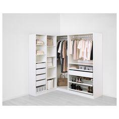 IKEA - PAX white Add-on corner unit with 4 shelves Frame colour: Ikea Pax Corner Wardrobe, Pax Closet, Corner Closet, Front Closet, Ikea Closet, Diy Wardrobe, Wardrobe Design, Wardrobe Storage, Wardrobe Doors