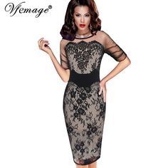 Cheap bodycon dress, Buy Quality dress see through directly from China see through dress Suppliers: Vfemage Women Elegant Sexy Floral Lace See Through Mesh Slim Tunic Evening Party Club Special Occasion Fitted Bodycon Dress 4286