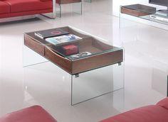 Mesa BACH-120, baja, cristal curvado, cajones, 120x60 cms