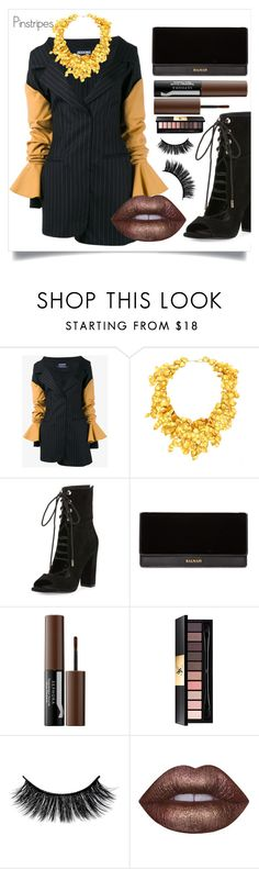 """""""Pinstripes"""" by samira-rahimova ❤ liked on Polyvore featuring Jacquemus, Kendall + Kylie, Balmain, Sephora Collection, Yves Saint Laurent, Lime Crime and pinstripes"""