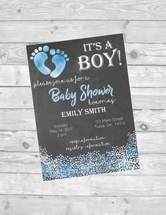 Its a boy baby shower invitation - digital download - customize