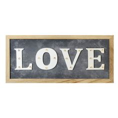 Parlane 'Love' LED Sign (74 SAR) ❤ liked on Polyvore featuring home, home decor, wall art, phrase, quotes, saying, text, wood home decor, grey wall art and text signs