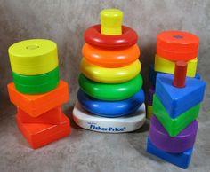 Vintage Fisher Price 17 Pc Plastic Blocks/Dowels & Stacking Ring Set #FisherPrice