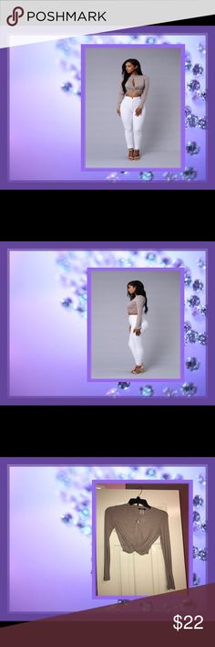 Fashion Nova Sexy Cropped Shirt💜🖤💜 Sexy Taupe Cropped Long Sleeve Shirt That Will Surely Have The Men Excited 96% Viscos 4%Spandex💜🖤💜💋 Fashion Nova Tops Crop Tops