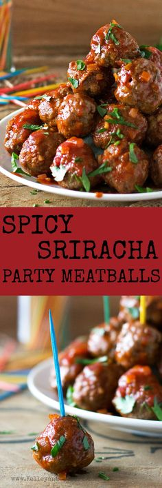 These saucy Spicy Sriracha Party Meatballs are so pop-able, you won't be able to stop at just one! And, you guessed it, they happen to be grain-free, gluten-free and paleo so go ahead and pop away and add them to your football Sunday spread! Gluten Free Appetizers, Gluten Free Recipes, Healthy Recipes, Wine Appetizers, Healthy Food, Healthy Eating, Party Meatballs, Spicy Meatballs, Plats Healthy