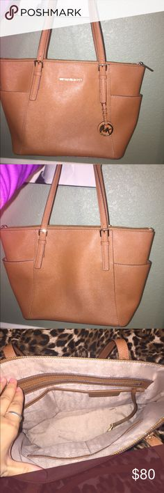 "Michael Kors Jet Set Ziptop Tote Michael Kors purse in ""Luggage"" color. Very gently used. Open to offers! Michael Kors Bags Totes"