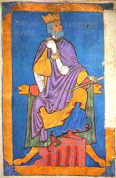 Afonso VI Rei de Leão e Castela - Séc. XII - Catedral de Santiago. -  Afonso VI terá casado cinco vezes (Inês da Aquitânia -  Constança da Borgonha -  Berta - Zaida foi a concubina (?) e não a esposa - Beatriz de Poitier - para além de ter tido diversas ligações extra-matrimoniais entre elas,  ligação ilegítima com Ximena Moniz (c. 1060-1128) dela teve 2 filhas: : Elvira Afonso (ca. 1079-1151 e TERESA DE LEÃO  (1080- 1130).