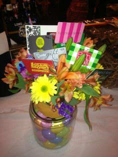 Ask each student to bring in a gc to somewhere the teacher would gift basket idea the giving bouquet gift basket donation bloomed with flowers and gift cards negle Images