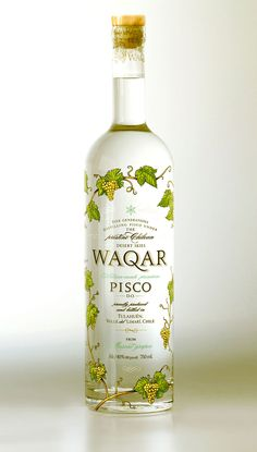 """The design of WAQAR was conducted entirely in the studio Visso of Buenos Aires.Our clients are from Santiago, Chile, with the bottles printed in France to be marketed in Chile, as well asthe European and American markets."""""""