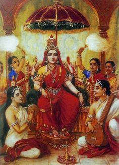 Jai Maa Ambika, Ambika - Reprints of Raja Ravi Varma Paintings (Raja Ravi Varma Reprint on Paper - Unframed) Ravivarma Paintings, Indian Art Paintings, Mysore Painting, Tanjore Painting, Durga Painting, Kali Goddess, Goddess Art, Raja Ravi Varma, Durga Images