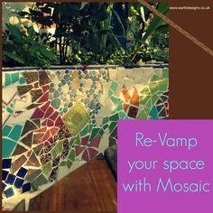 Love a bit of Mosaic work. #gardendesign #londongarden #mosaic #earthdesigns #recycledgarden #gaudi