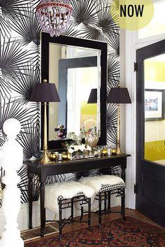 HGTV_canada_hallway_wallpaper_palm by coco+kelley, via Flickr