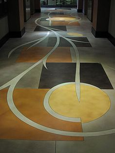 Beautiful hallway displays advanced stained concrete techniques. Richard Smith Custom Concrete Canoga Park, CA