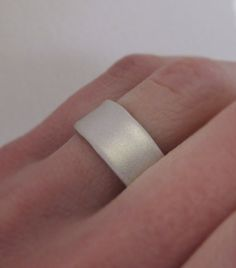 Wide Sterling Silver Wedding Band Recycled Sterling by esdesigns