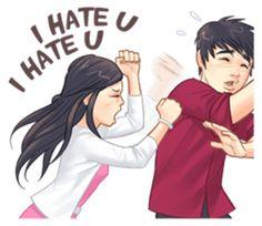 Luwo & Sasa (English Language) by Junaidi Lim Cute Love Pictures, Cute Cartoon Pictures, Cute Love Gif, Cute Love Quotes, Couple Pictures, Love Cartoon Couple, Cute Love Cartoons, Cute Cartoon Girl, Anime Love Couple