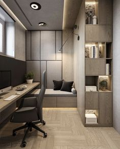 Trendy Home Office Contemporary Study Rooms Home Office Setup, Home Office Space, Home Office Design, Home Interior Design, Interior Architecture, House Design, Office Ideas, Studio Interior, Studio Design