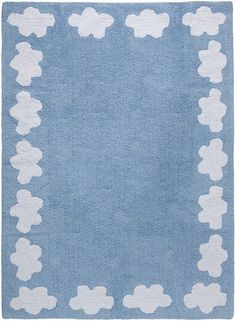 Clouds Cotton Rug in Blue