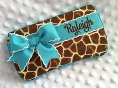 Custom Giraffe Animal Print with a Bow and Name Embroidered Boutique Diaper Baby Wipes Case on Etsy, $22.00