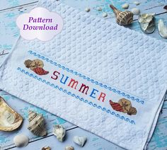 Summer Hand Towel Cross-Stitch Pattern - PDF Download
