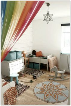 Rainbow curtain room divider. Why don't I have this in my life yet!?