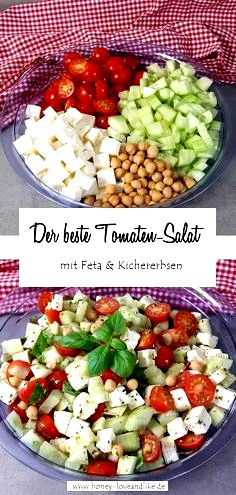 Tomato feta salad with chickpeas - a real protein bomb! - Tomato feta salad with chickpeas – a real protein bomb! Tomato feta salad with chickpeas – a re - Vegetarian Recipes Dinner, Healthy Chicken Recipes, Healthy Dinner Recipes, Appetizer Recipes, Yummy Recipes, Keto Recipes, Evening Meals, Easy Meals, Stuffed Peppers