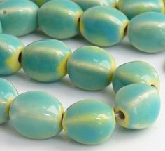 4-Sided Oval Seafoam/Yellow Porcelain Beads