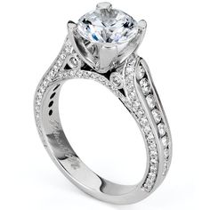 18K White Gold Three Sided Channel Set Diamond Engagement Ring