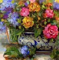 Artists Of Texas Contemporary Paintings and Art - SOLD ~ Water and Air Roses and Hydrangeas and Gifts From Muses by Nancy Medina