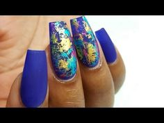 HOW TO: Matte nails with colourful foils and FIRST VOICE OVER! - YouTube