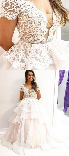 A-line Prom Dresses Spaghetti Straps Beading Modest Cheap Prom Dress ...