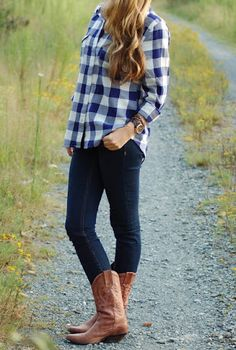 flannel and boots via Just a Carolina Girl ♥