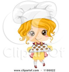 Cartoon of a Cute Blond Caucasian Baker Girl Holding Fresh Cookies - Royalty Free Vector Clipart by BNP Design Studio