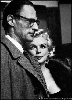 "Hollywood..Marilyn Monroe & Arthur Miller at private screening of ""Some Like It Hot"", 1959  photo byHenri Dauman"
