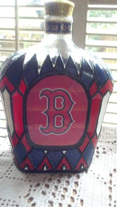 Boston Red Sox Crown Royal Whisky Glass Upcycled by PattiesPassion, $68.88