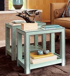 studded ikea end tables.