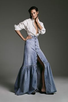 Britney Spears and John Galliano's Designs for Dior Inspired This Elevated Denim Label - The Design Duo Behind Citizens of Humanity Have Launched Their Own Denim-Meets-Ready-to-Wear Label - Denim Fashion, Skirt Fashion, Runway Fashion, Boho Fashion, Fashion Outfits, Fashion Design, Fashion Trends, Fashion Details, High Fashion