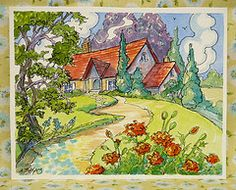 English cottage gardening is my passion. In this series of wonderful red roof cottages -thanks to @Lynda Aplin -I have this charming art work to enjoy.