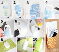 como fazer um suporte para celular com plastico de shampoo reciclado